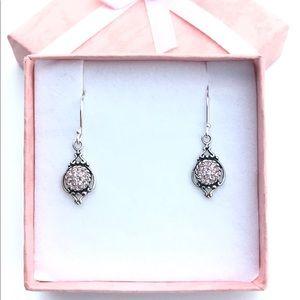 Vintage Rose Swarovski Sterling Silver Earrings